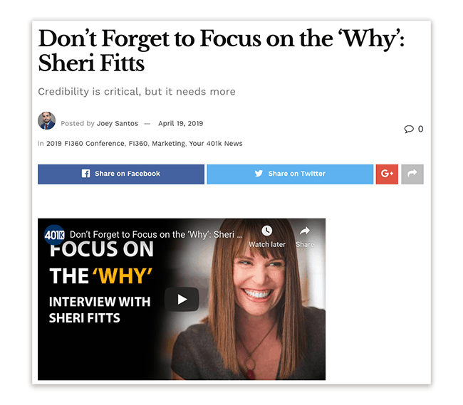Sheri Fitts - Focus on the 'Why'
