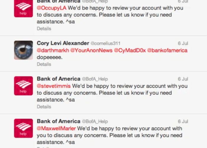 Bank of America screenshot