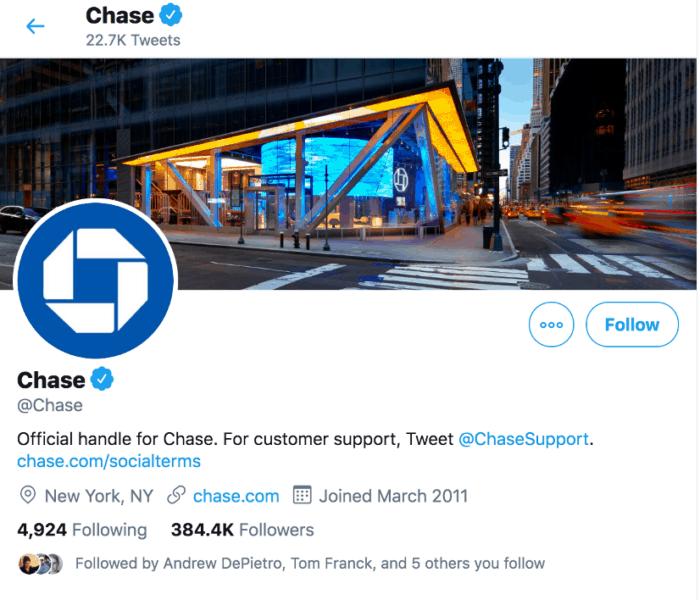 Chase Twitter screenshot